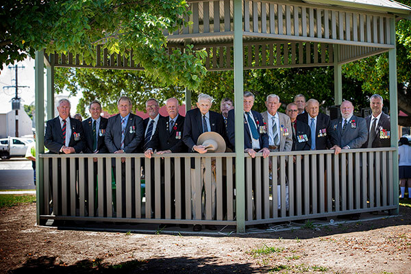 Event being Remembrance Day with the RSL Members gathered within the newly constructed Rotunda. Photo by Wayne Pratt